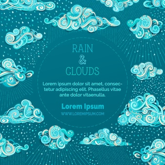 Doodle chmury i koncepcja ilustracji deszczu