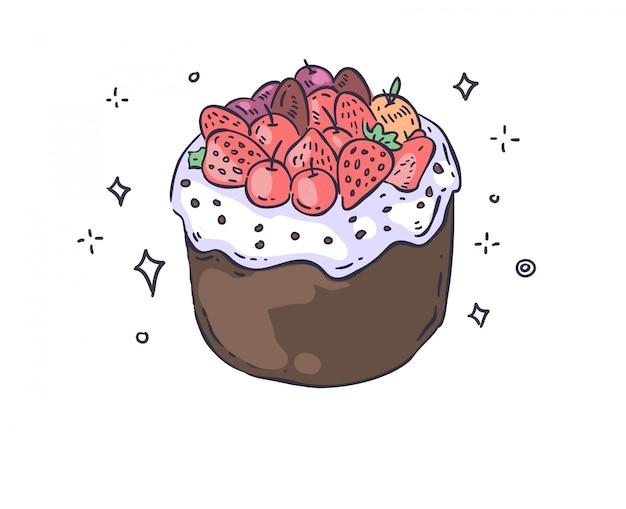 Doodle ciasto. ilustracja ciasta