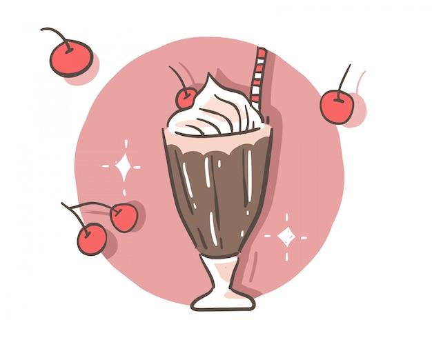 Doodle czekoladowe stylu kreskówki.