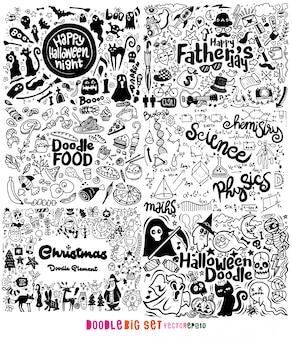 Doodle duży zestaw, ręcznie rysowane ilustracja doodle