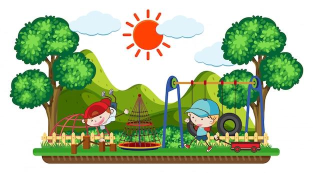 Doodle dzieci bawiące się na placu zabaw