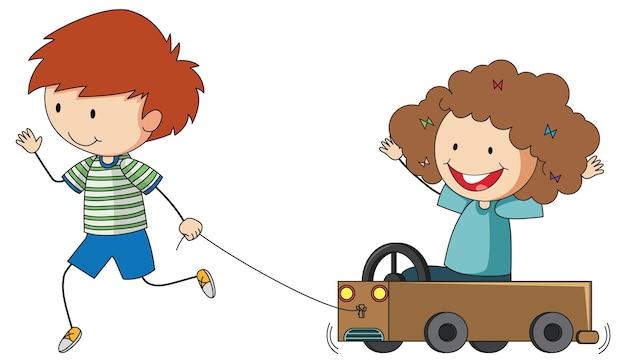 Doodle dzieciak grający postać z kreskówek na białym tle