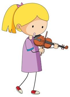 Doodle dziecko grające na skrzypcach kreskówka na białym tle
