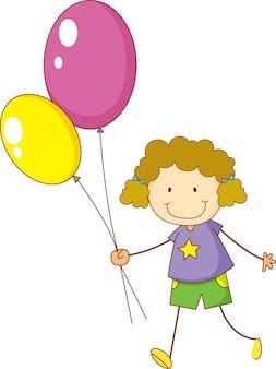 Doodle dziecko trzymające balony postać z kreskówki na białym tle