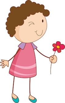 Doodle dziecko trzymające postać z kreskówki kwiat na białym tle