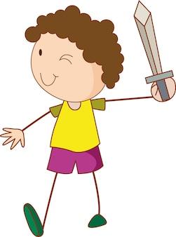 Doodle dziecko trzymające postać z kreskówki miecz na białym tle