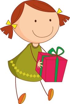 Doodle dziecko trzymające postać z kreskówki pudełko na prezent na białym tle