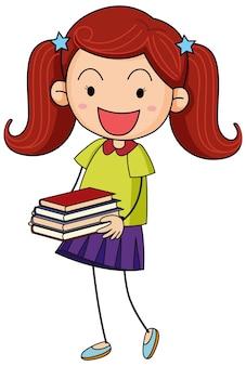 Doodle dziecko trzymające wiele książek postać z kreskówek na białym tle