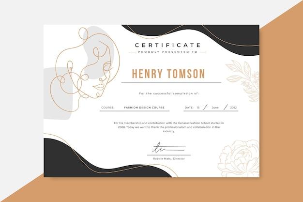 Doodle eleganckie certyfikaty mody