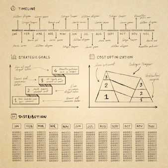 Doodle elementy infografiki dla prezentacji biznesowych
