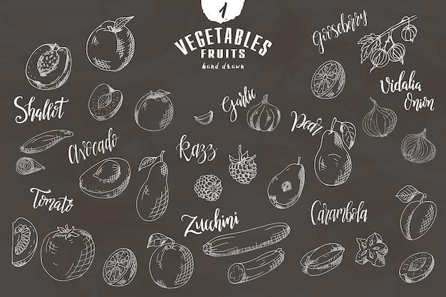Doodle elementy owoców i warzyw.
