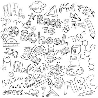 Doodle firmy z czarno-białymi znakami firmowymi, symbolami i ikonami.