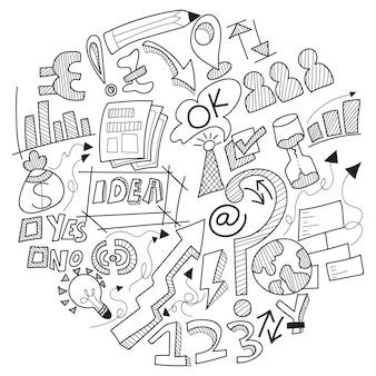 Doodle firmy, ze znakiem firmowym, symbolami i ikonami.