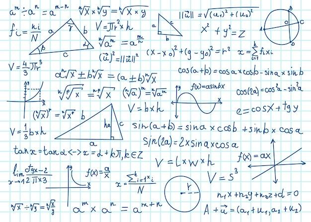 Doodle formuły matematyczne równania matematyczne na papierze zeszytowym obliczenia geometrii algebry