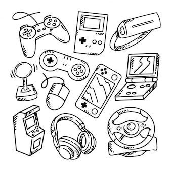 Doodle gamer zestaw ilustracji