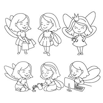 Doodle girls zestaw ilustracji wektorowych