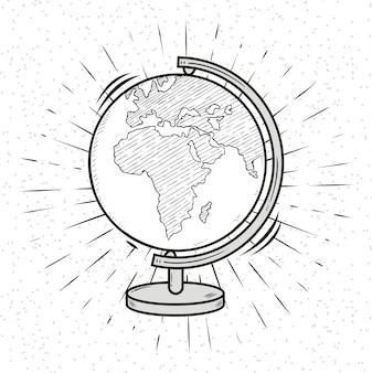 Doodle globe. planeta ziemia. kula ziemska ilustracja