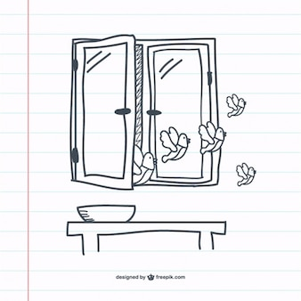 Doodle grafiki retro okno