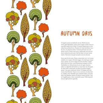 Doodle granicy drzew jesienią. ręcznie rysowane szablon. baner lub plakat, broszura, projekt