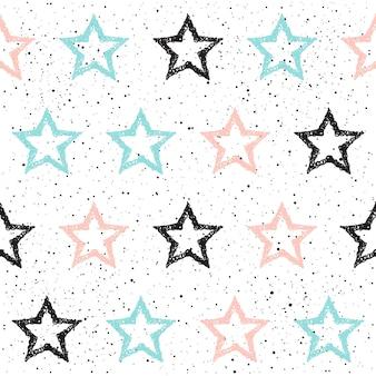 Doodle gwiazda bezszwowe tło. czarna, niebieska i różowa gwiazda. abstrakcyjny wzór dla karty, zaproszenia, plakatu, banera, afisz, pamiętnika, albumu, okładki książki szkicu itp.