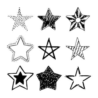 Doodle gwiazdki. zestaw dziewięciu czarny ręcznie rysowane gwiazdy na białym tle. ilustracja wektorowa