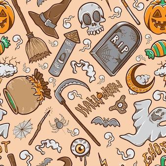 Doodle halloween zestaw zapasów bezszwowe tło wzór