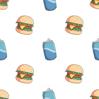 Doodle hamburger i soda może wzór