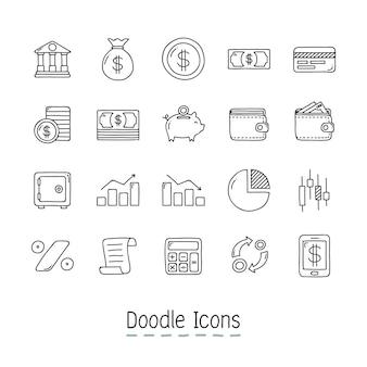 Doodle ikon finansowych.