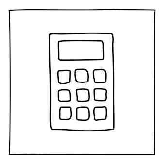 Doodle ikona kalkulatora lub logo, ręcznie rysowane z cienką czarną linią.