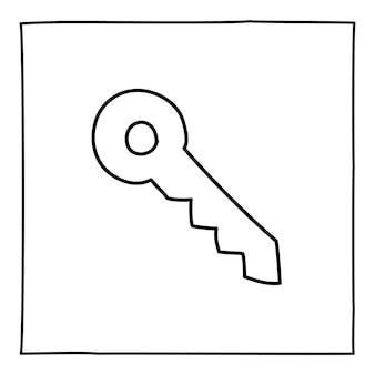 Doodle ikona klucza lub logo, ręcznie rysowane z cienką czarną linią.