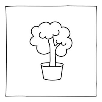 Doodle ikona mózgu lub logo, ręcznie rysowane z cienką czarną linią. na białym tle. ilustracja wektorowa