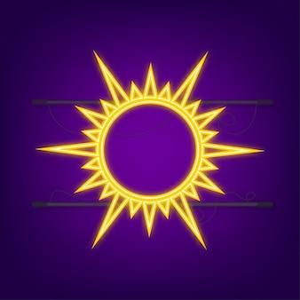 Doodle ikona słońce na białym tle na niebieskim tle. sumuje sezon. neonowy słońce.