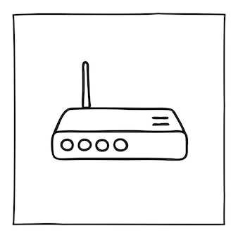 Doodle ikonę routera modemu lub logo, ręcznie rysowane z cienką czarną linią.