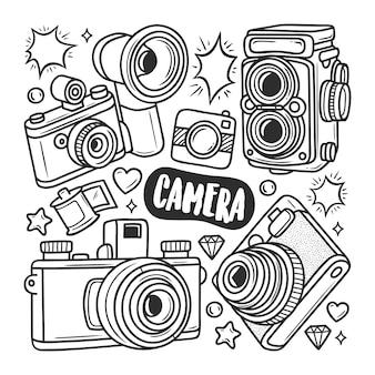 Doodle ikony aparatu ręcznie rysowane kolorowanki
