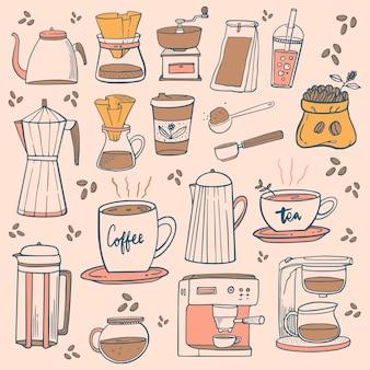 Doodle ikony kawiarni. rysunki kawy i herbaty do menu kawiarni