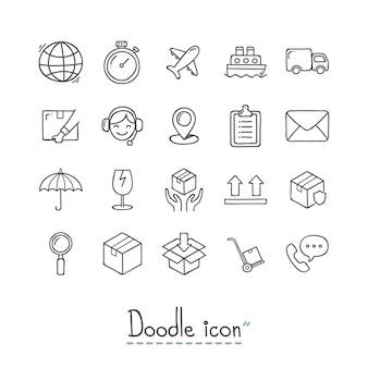 Doodle ikony logistyki