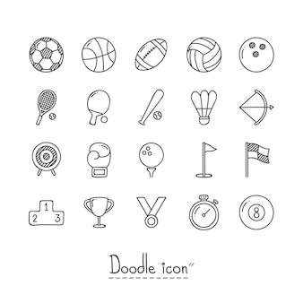 Doodle ikony sportowe.