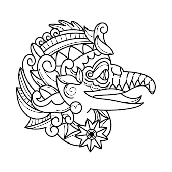 Doodle ilustracja indonezyjskiej maski