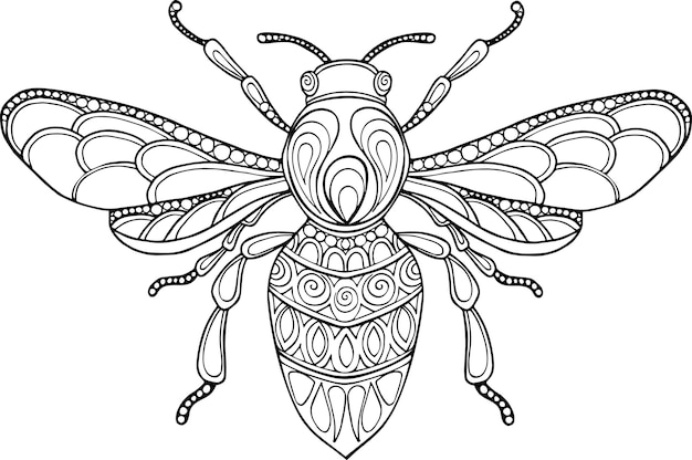 Doodle ilustracja pszczoła wyciągnąć rękę wektor