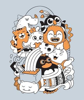 Doodle ilustracja różnego rodzaju potworów