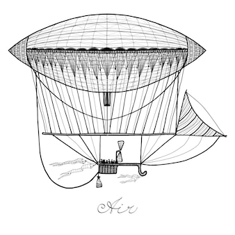 Doodle ilustracja sterowiec
