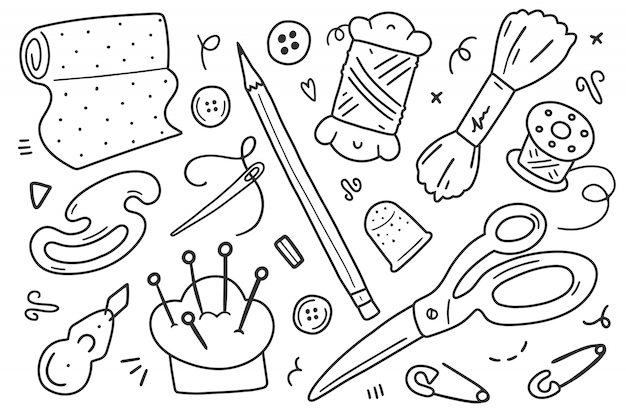 Doodle ilustracje, kolekcja narzędzi do szycia i akcesoriów.
