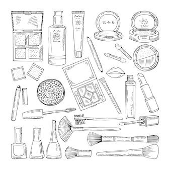 Doodle ilustracje kosmetyków kobiety. narzędzia do makijażu dla pięknych kobiet