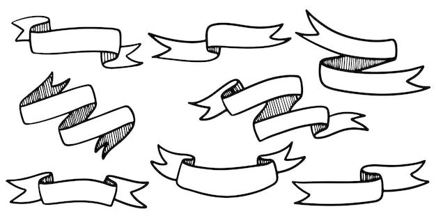 Doodle ilustracje transparent wstążka na białym tle na białym tle. ręcznie rysowane ilustracji wektorowych.