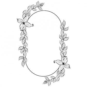 Doodle ilustracyjne rośliny dla ślubnego projekta