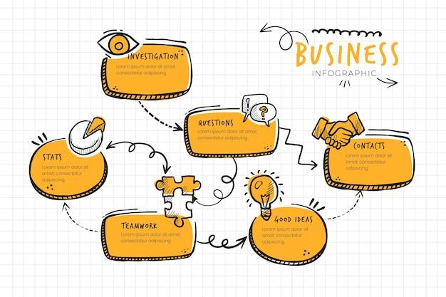 Doodle infografika biznes monocolor