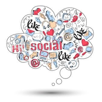 Doodle infografiki mediów społecznościowych