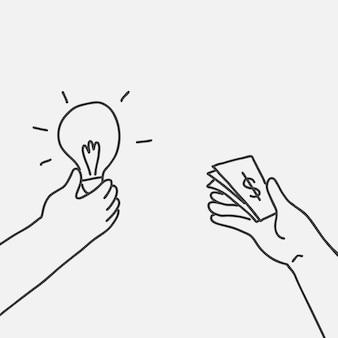 Doodle inwestycji wektor pieniądze na pomysł