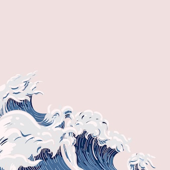 Doodle japońska fala