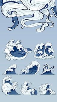 Doodle japońskich fal